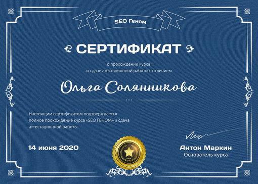 сертификат сео-специалиста